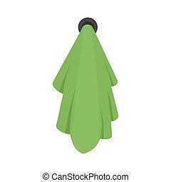 Green towel icon, flat style