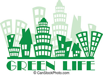 Green town - Abstract ecology town with different buildings