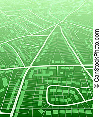 Editable vector illustration of a generic green street map without names