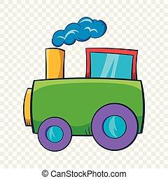 Green toy train icon, cartoon style