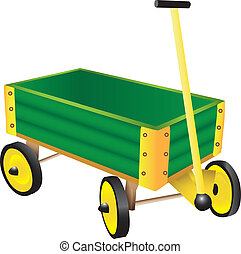 Green Toy Wagon illustration isolated on white