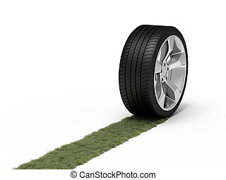 Ecological concept - Green trace from a wheel. Ecological...