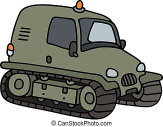 Green tracked vehicle - Hand drawing of a funny green small...