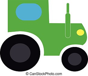 Green tractor on white background