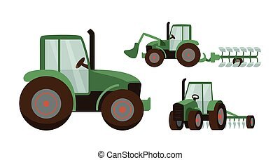 Green tractor set vector illustration. Agrimotor with bucket and plow. Isolated on white background.