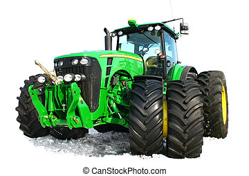 Green tractor - New green tractor isolated on white