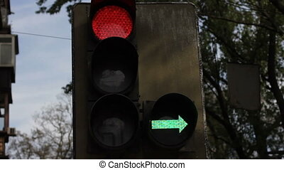 green traffic light comes on close up
