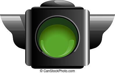 Green traffic light isolated on white. EPS 10, AI, JPEG