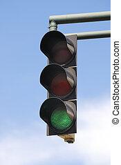 Green Traffic Light - Green traffic light and blue sky