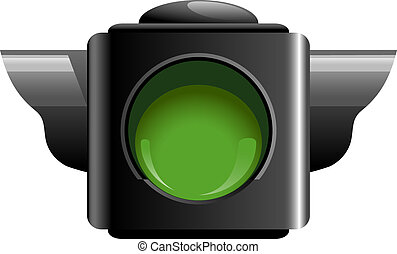 Green traffic light isolated on white. EPS 10, AI, JPEG