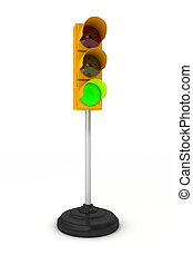 Toy traffic light over white background showing green light