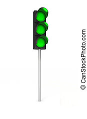 Toy traffic light over white background showing three green lights