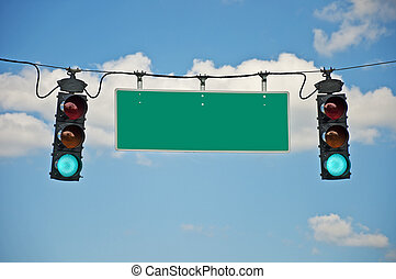 Green Traffic Light With Blank Sign