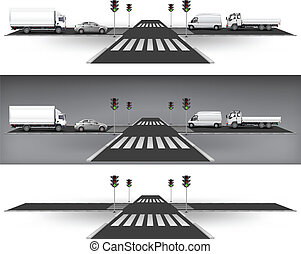 Crossroad on way, green traffic lights and city traffic, vector illustration