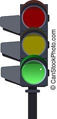 Green traffic lights.