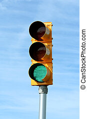 traffic signal light - Green traffic signal light against...