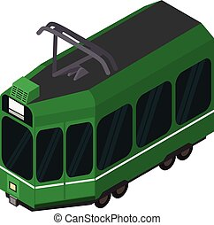 Green tram car icon, isometric style