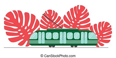 Green tram on a background of coral colored monstera leaves. Eco transport is useful for people and the city. Eco-friendly public transport. Suitable for transport information