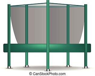 Green trampoline icon, realistic style