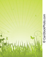 green tranquil background portrait - Speckled Easter eggs on...