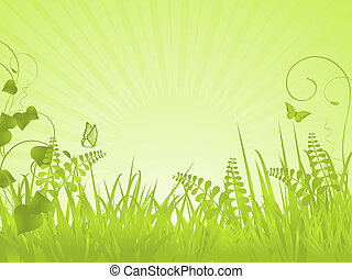 Green spring landscape with grasses, vines and butterflies