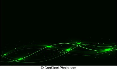 Green transparent abstract shining magical cosmic magical energy lines, rays with glare and dots and light shines on waves on a dark background from below. Vector illustration.