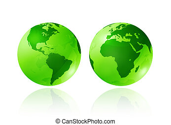 green transparent globes - two green transparent earth...