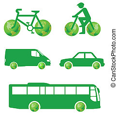 Green transport concept isolated on white background