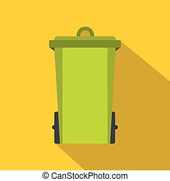 Green trash bin icon, flat style
