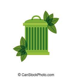 green trash bin with leaves