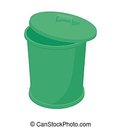 Green trash can icon, cartoon style