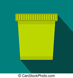 Green trash can icon, flat style