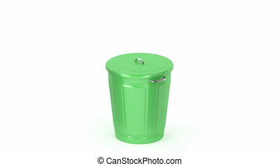 Green trash can on white background