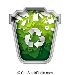 Green trash can with plastic garbage, vector paper cut illustration