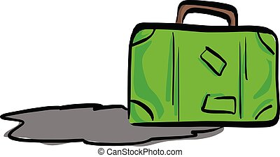 green travel bag with shadow vector illustration sketch hand drawn with black lines isolated on white background