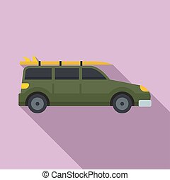 Green travel car icon, flat style