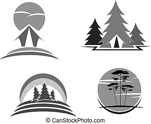 Green travel or ecology tourism vector icons