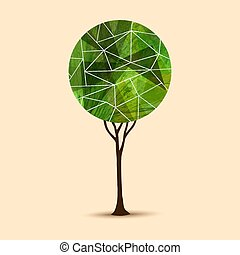 Green tree abstract geometric illustration design