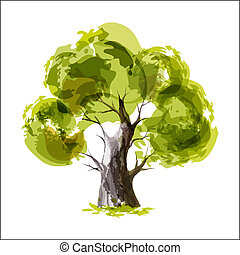 Green tree - Abstract illustration of stylized green tree