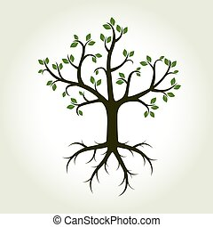 Green Tree and Roots. Vector Illustration.