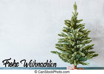 Green Tree, Black Calligraphy Frohe Weihnachten Means Merry Christmas