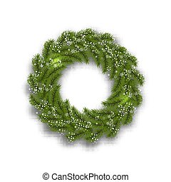 Green tree branch in the form of a Christmas wreath and snowflakes on a white background. illustration
