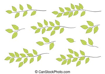 green tree branches set