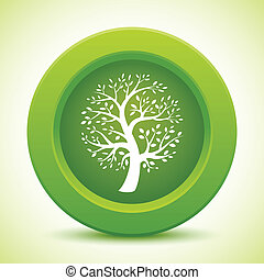 Green tree button, vector illustration