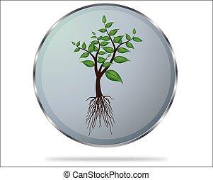 Green tree button, vector illustration