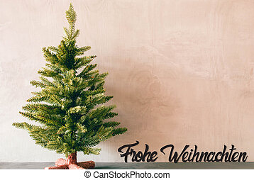 Green Tree, Calligraphy Frohe Weihnachten Means Merry Christmas