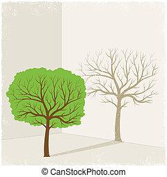 Green tree casting shadow of dry tree