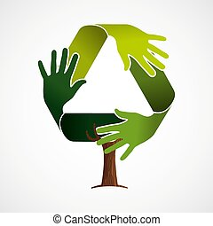 Green tree concept for recycling teamwork