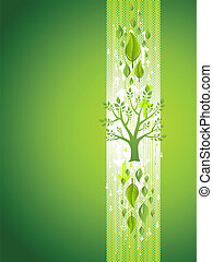 Green Tree Eco Background with Leafs
