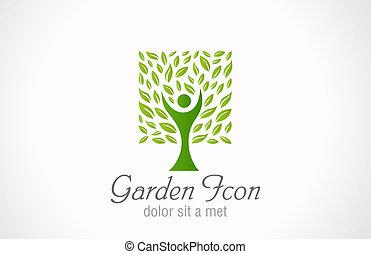 Green tree eco logo. Ecology garden bio design. Organic sign.